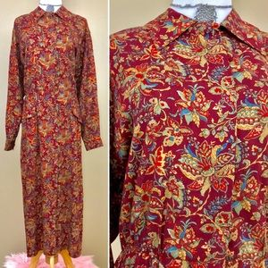 Vintage Maggy London Floral Paisley Maroon Dress